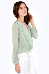 LULUS Exclusive My Beading Heart Sheer Beaded Sage Green Top at Lulus.com!
