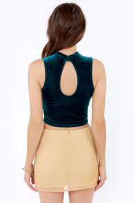 Sweet City Woman Dark Teal Velvet Crop Top at Lulus.com!