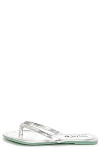 Sandcastle Silver Flip Flops at Lulus.com!