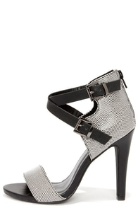 Latest and Greatest Black and White Reptile Ankle Strap Heels at Lulus.com!