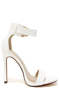 White Heels With Ankle Strap