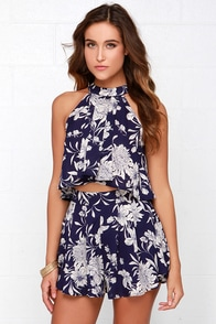 Go with the Floral Navy Blue Floral Print Two-Piece Set at Lulus.com!