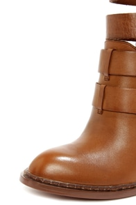 Chinese Laundry Gadget Cognac Leather Buckled High Heel Booties at Lulus.com!