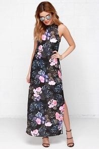 The Fifth Label Adore You Black Tropical Print Maxi Dress at Lulus.com!