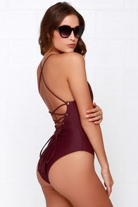 Mandalynn Nicole Lace-Up Burgundy One Piece Swimsuit at Lulus.com!
