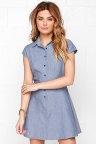 RVCA Ashley Smith Dream Blue Chambray Dress at Lulus.com!