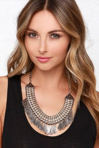 Spear No Expense Silver Statement Necklace at Lulus.com!