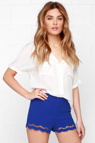 One Scallop or Two? Royal Blue Shorts at Lulus.com!