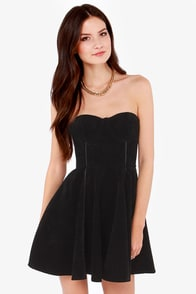 Mink Pink Saint Bernadette Strapless Black Dress at Lulus.com!