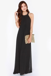 LULUS Exclusive T Party Black Maxi Dress at Lulus.com!