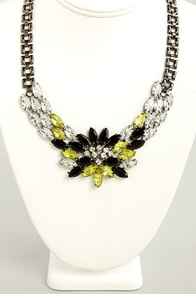 Gem of Your Garment Black and Yellow Necklace at Lulus.com!