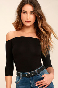 image Upstage Black Off-the-Shoulder Top