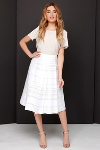 Pleats to be Here Ivory Embroidered Midi Skirt at Lulus.com!