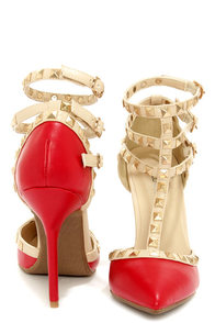 Wild Diva Lounge Adora 55 Red Studded T-Strap Pointed Heels at Lulus.com!