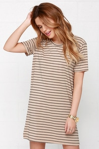 Like You a Latte Black and Beige Striped Dress at Lulus.com!