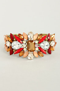 Catching Fire Red Rhinestone Cuff at Lulus.com!