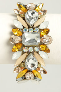 Catching Fire Yellow Rhinestone Cuff at Lulus.com!