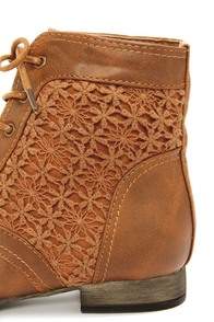 Wild Diva Lounge Tosca 85A Cognac Lace-Up Ankle Boots at Lulus.com!