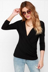 Have It Your Sway Black Long Sleeve Top at Lulus.com!
