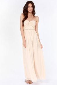Your Twist is On My List Beaded Light Peach Maxi Dress
