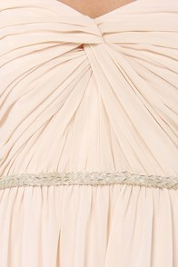 Your Twist is On My List Beaded Light Peach Maxi Dress at Lulus.com!
