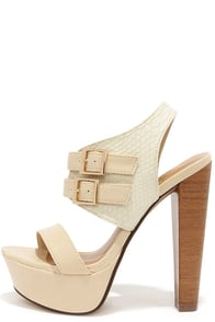 At the Club Beige Snakeskin Platform Heels at Lulus.com!
