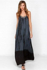 Bead-nik Babe Beaded Grey Tie-Dye Maxi Dress at Lulus.com!