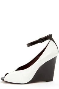Report Signature Londyn White and Black Ankle Strap Wedges