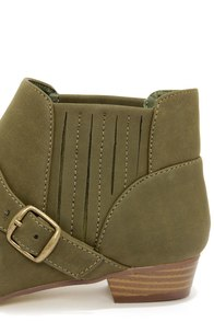Paco 1 Khaki Belted Ankle Boots at Lulus.com!