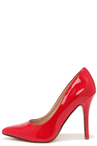 My Delicious Date Red Patent Pointed Pumps at Lulus.com!