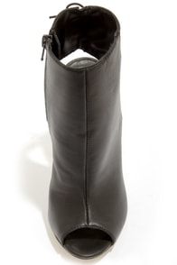 Chinese Laundry Jinxy Black Leather Peep Toe High Heel Booties at Lulus.com!