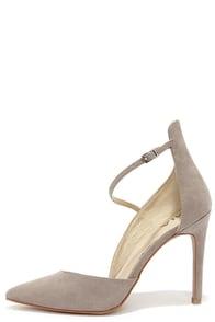 Mia Mona Grey Suede D'Orsay Heels at Lulus.com!