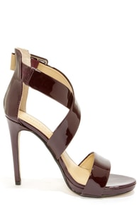 Chinese Laundry Blackjack Syrah Patent Strappy Heels at Lulus.com!