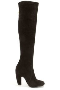 Steve Madden Priscila Black Suede Leather Over the Knee Boots at Lulus.com!