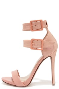 Double Down Salmon Pink Snakeskin Ankle Strap Heels at Lulus.com!