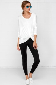 Stunner Up Black Leggings at Lulus.com!