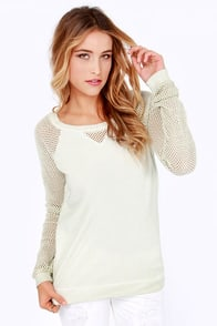 Others Follow Spacetime Pale Celery Green Mesh Sweater at Lulus.com!