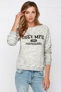 Obey Kloss Heather Grey Sweatshirt at Lulus.com!
