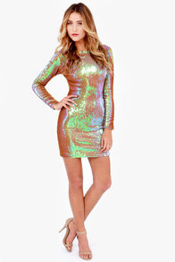 Dress the Population Lola Iridescent Sequin Dress at Lulus.com!