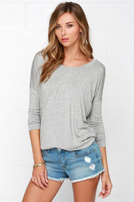 I'm a Believer Heather Grey Long Sleeve Top at Lulus.com!