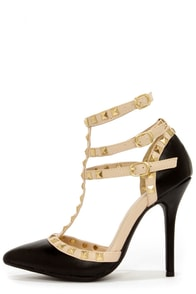 Wild Diva Lounge Adora 55 Black Studded T-Strap Pointed Heels