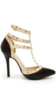Wild Diva Lounge Adora 55 Black Studded T-Strap Pointed Heels at Lulus.com!