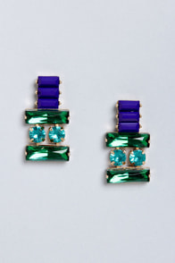 Thrilled To Be Ear Green Rhinestone Earrings at Lulus.com!
