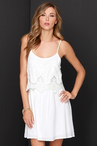 Curtsy Call Ivory Lace Dress at Lulus.com!