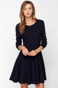 Glamorous Fair Weather Navy Blue Sweater Dress at Lulus.com!