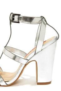 C Label Cheri 1 Silver T-Strap Heels at Lulus.com!