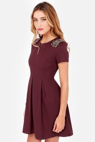 Allure Me In Beaded Burgundy Dress at Lulus.com!