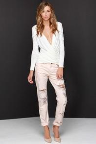 Blank NYC Ditz Distressed Pink Boyfriend Jeans at Lulus.com!
