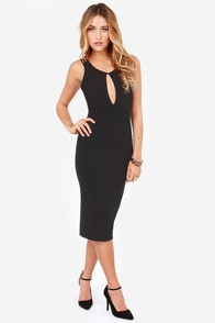 Free Falling Cutout Black Midi Dress at Lulus.com!