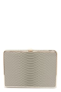 Croco-Dialogue Grey Clutch at Lulus.com!